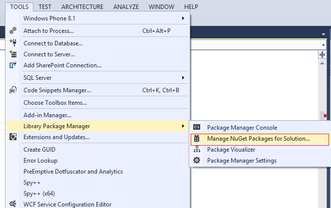 access Nuget package manager