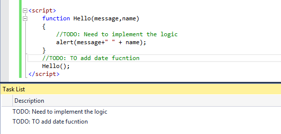 Visual Studio 2015 Javascript Enhancements Task list
