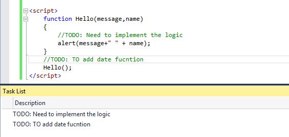 Visual Studio 2015 Javascript Enhancements Task list