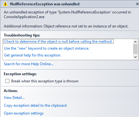 null reference exception C#6 null conditional operator