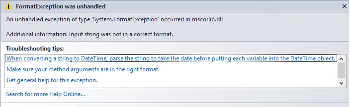datetime format exception