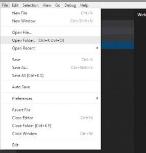 Visual Studio Code File Menu