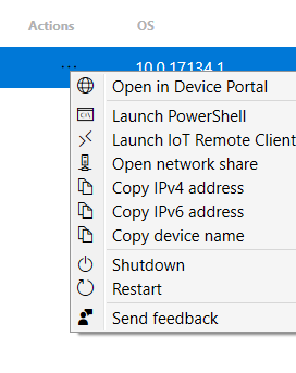 Windows 10 IoT Core Dashboard Connected Devices Actions