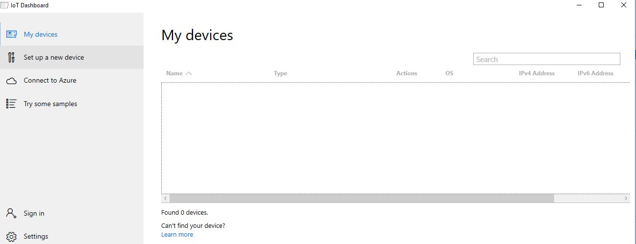 Windows 10 IoT Core Dashboard Open
