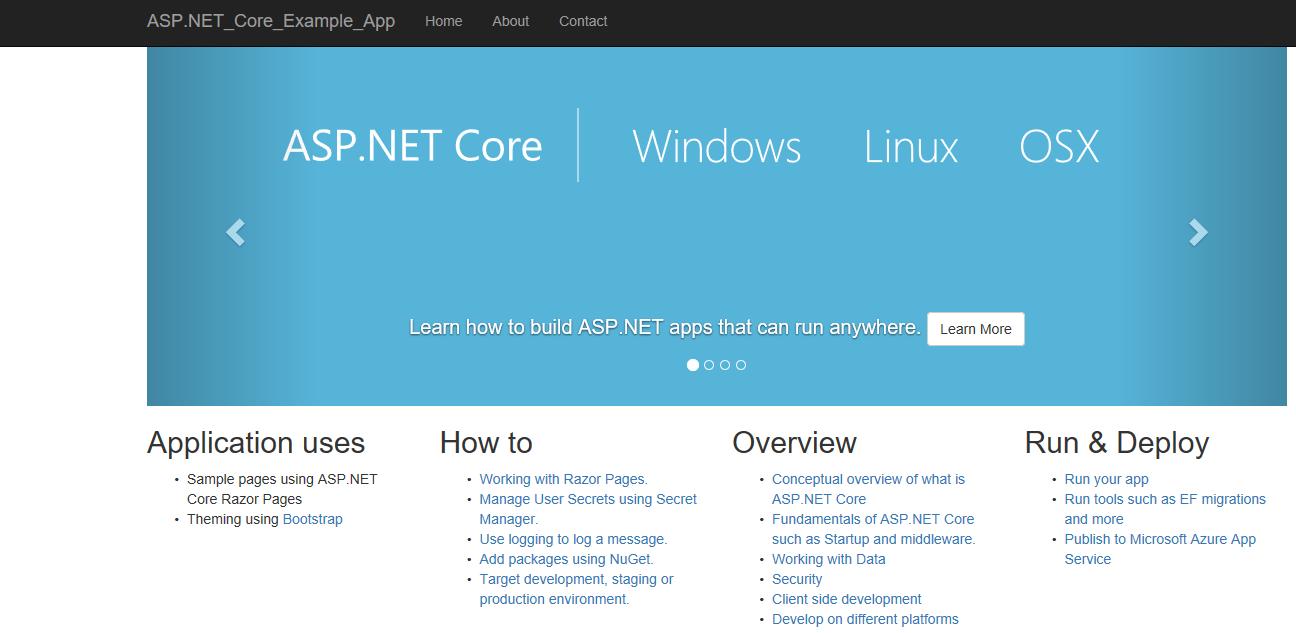 asp.net core apphome page