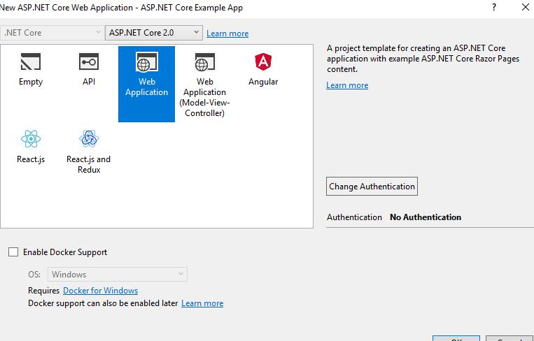 asp.net core sample app select apptype