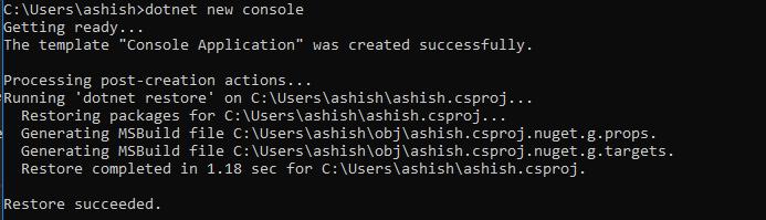 dotnet core commands