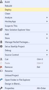IoT Sample App Visual Studio deploy