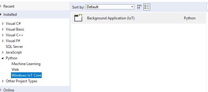 windows iot in python Visual Studio Template