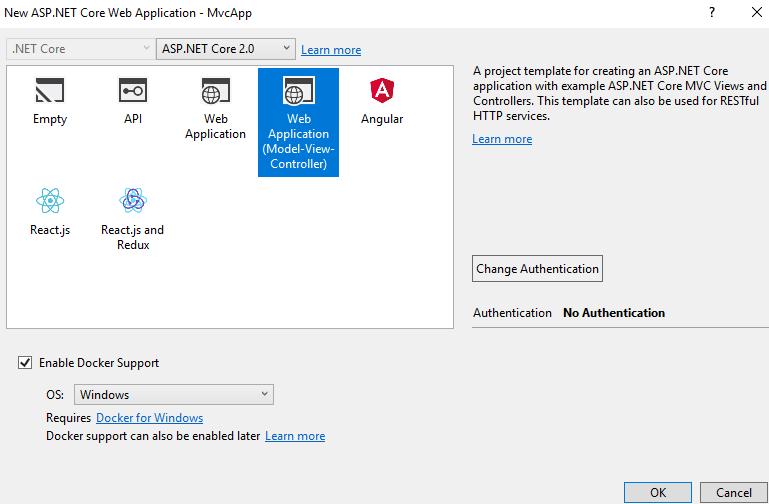 Create MVC application in asp.net core 2.0-2