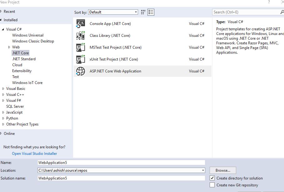 Create MVC application in asp.net core 2.0