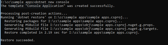 dotnet core sample application command executed successfully