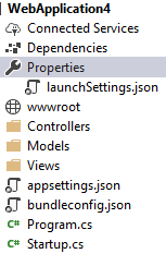 debug asp.net core project hosted in IIS select properties